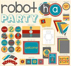 Robot PRINTABLE Party Kit by Love The Day by lovetheday on Etsy, $45.00