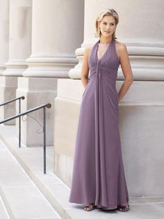 2015 Sleeveless Shawl Chiffon Halter V-neck Floor Length A-line Mother of the Bride Dresses MBD0111