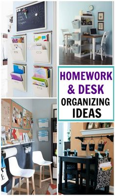 Get organized for a new school year! 10 FABULOUS homework & desk organizing ideas to keep the school clutter at bay Related posts: DIY Desk Decor & Organization for Back to School 2017 Homework Station Diy, Homework Desk, Kids Homework, School Desk Organization, Home Organization Hacks, Organizing Ideas, Diy Organizer, Boys Desk, Kid Desk