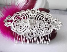 Vintage style crystal Bridal Hair comb by nefertitijewelry2009, $35.80