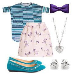 A LuLaRoe striped Irma pairs perfectly with a floral skirt. Accent it with perfectly colored flats, a hair bow, earrings, and a necklace.