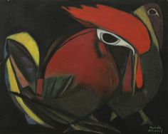 """Reynold Arnould (French, - """"Le Coq (Rooster)"""", 1953 - Oil on canvas The Barnyard, Le Havre, Oil Painting Reproductions, Art Moderne, Coq, Painting Process, Oil On Canvas, Rooster, Hand Painted"""
