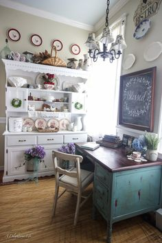This hutch beautifully demonstrates to me farmhouse style - I've added many items from one of my favorite resources for French decor