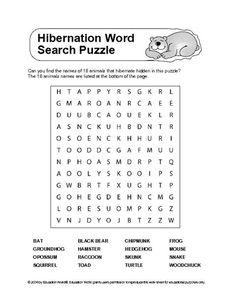 Hibernation Word Search (Supplemental Activities)