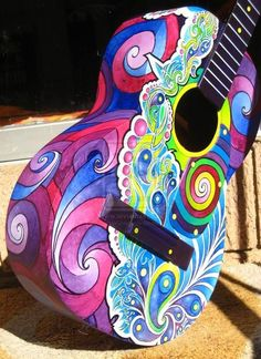 It's a guitar, but still, I could do that to my ukulele Guitar Painting, Guitar Art, Cool Guitar, Ukulele Art, Guitar Tattoo, Gypsy Guitar, Ukelele, Guitar Pins, Guitar Room