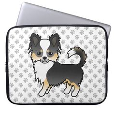 Black Tricolor Long Coat Chihuahua Dog & Paws Laptop Sleeve   crochet chihuahua, black and white chihuahua, chihuahua halloween #chihuahuanation #chihuahuaplanet #chihuahuasoginstagram, back to school, aesthetic wallpaper, y2k fashion Chihuahua Tattoo, Chihuahua Breeds, Dog Breeds, Long Coat Chihuahua, Grey Dog, Dog Paws, Laptop Sleeves, Cartoon, Halloween