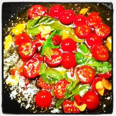 Extra vergine olive oil, dried garlic, chilli, tomatoes, basil & spaghetti of course!
