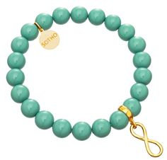 Miętowe perły.  http://www.sotho.pl/home/575-mietowa-bransoletka-nieskoczonosc-symbol-infinity-zloto-perly-jade-swarovski-element.html