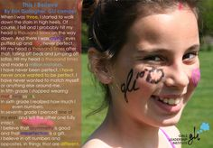 This I Believe. Poem written by GLI Camper Erin Gallagher. Read more on our blog: http://www.girlsleadershipinstitute.org/content/i-believe-words-camp and find out about our camps at: http://www.girlsleadershipinstitute.org/summer-camp