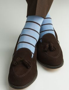 Dapper Classics Sky Blue with Brown Stripe Linked Toe Fine Merino Wool Sock