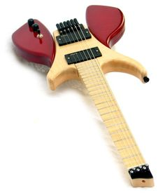 Dino Electric headless guitar. Take away the red thingies and it's a great travel guitar.