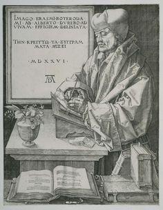 Albrecht Dürer | Portret van Erasmus, Albrecht Dürer, 1526 | Portret van Erasmus, schrijvend, staande aan een lezenaar bij een tafel waarop een vaas met bloemen staat. Achter de tafel een tablet aan de wand met Latijnse tekst.