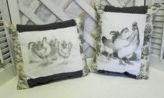 Handmade French Country Rooster and Hen Throw Pillows French Country Farmhouse, French Country Style, French Country Decorating, Rustic French, French Decor, Southern Style, Farmhouse Style, Personalized Pillows, Handmade Pillows