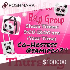 Congrats $$@lmonposh, @mandapanda83$$🐼Thur🐼💞 🐼Sign up with your tag @_____.                         🐼Share 10 bag items per person signed up.      🐼Sharing begins at 9am & sign out by 12pm.      🐼Share some, mark the last person shared.      🐼 If they don't have 10, share until 10 are met.    🐼 Co-Hostess is Dawn @samipoo24.                 🐼 we have sold thousands of bags and are       happy to have you! Go Pink Pandas! Please don't miss days and if so, please make them up. 2…