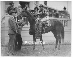 Shut Out. 1942 Kentucky Derby winner. Jockey: Wayne Wright. Winning time: 2:04 2/5