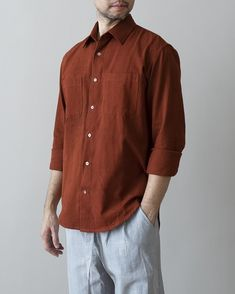 Another Shirt is coming! With beautiful Naturally Dyed Ochre colour. Work Shirts, Clothing Patterns, Herringbone, Tweed, Hand Weaving, Men Casual, Shirt Dress, Colour, Fabric