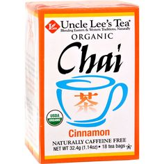 Uncle Lees Organic Chai Cinnamon - 18 Tea Bags - Uncle Lees Organic Chai Cinnamon Description: With Rooibos Naturally Caffeine Free Individually Wrapped Traditionally, Chai is a brewed beverage combining flavor rich spices and black tea with milk and a sweetener. Our Cinnamon Chai (pronounced cheye) is a unique blend of traditional East Indian spices and rooibos, an herb that tastes like black tea, has anti-oxidant properties similar to green tea and is naturally caffeine free! Our Chai is…