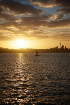 Waitemata Harbour at Sunset, Auckland, New Zealand