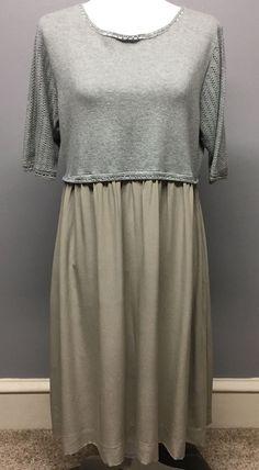Sundance Gentle Dove Knit Sweater Dress Silk Skirt Gray Taupe Size XL  | eBay