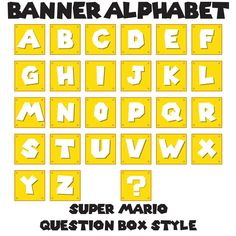 """Mario Question Box Banner - All Letters plus Question - Set of 7.5"""" Square Banner Flags - Printable PDF, Instant Download Mario Birthday Banner, Super Mario Birthday, Super Mario Party, Boy Birthday, Mario Room, Party Printables, Party Themes, Party Ideas, Letters"""
