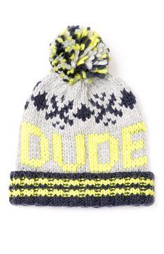 """Primark grey """"Dude"""" slogan beanie hat!"""
