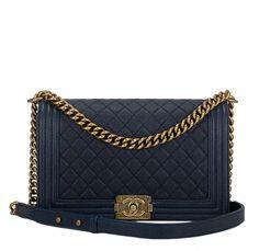 0ca58f79eaf2 Chanel Navy Blue Quilted Caviar New Medium Boy Bag Gold Hardware Chanel  Caviar