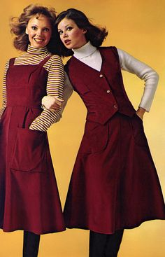 Kay Campbell & Colleen Corby (JCPenney Catalog - 1976) i had a vest and skirt set in dark green crushed velvet.