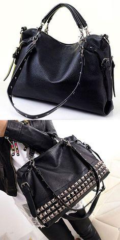 Unique Rivets Women Leather Shoulder Bag Punk Square Rivet Handbag for big  sale!  Handbag 1c98481456bcc