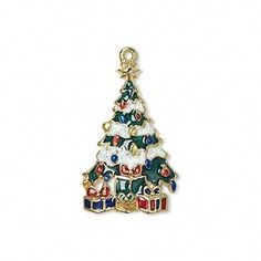 charm enamel and gold finished pewter zinc based alloy multicolored with glitter single sided christmas tree - Christmas Charms