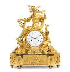 An Empire Gilt Bronze Mantel Clock, AUMINGAUD, Height 21 1/2 inches.