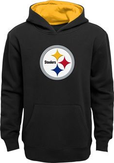 4047d0abc4d NFL Team Apparel Youth Pittsburgh Steelers Prime Black Pullover Hoodie