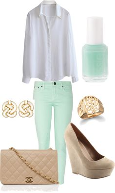 mint pants and white blouse, nude wedges