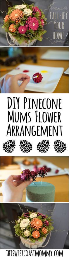 Fall-ify your home with a beautiful arrangement of DIY pinecone mums. Get step-by-step instructions here!