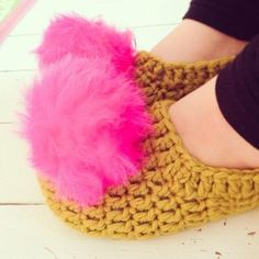 Mega cute pompom-tastic slipper for all abilities! These slippers can easily be completed in just a couple of hours even if you are an beginner - find the pattern on LoveCrochet!