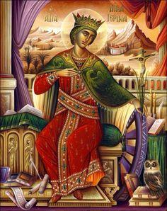 St Katherine the Great-martyr- icon Byzantine Icons, Byzantine Art, Religious Icons, Religious Art, Saint Katherine, Catherine Of Alexandria, Russian Icons, Catholic Saints, Orthodox Icons