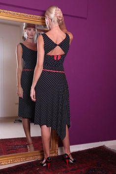 conDiva Polka Dot Tango Dress with Side Draping