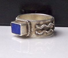 Sterling Silver Lapis Ring Southwest Symbol Design Roped 925 Band #Unknown
