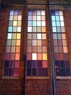 """The High Line - NYC Spencer Finch's """"The River Flows Both Ways"""" - the idea of something quite abstract and reductionist going on the far wall Exterior Design, Interior And Exterior, Mosaic Glass, Glass Art, Stairs Window, Glass Brick, Rainbow Glass, History Of Photography, Stained Glass Designs"""