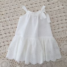 Baby Romper Dress-Linen and Lace Baby Dress-Special by ChasingMini