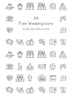 24 Free Wedding Icons <br> 24 Free Wedding Icons are hand drawn icons are perfect for wedding template designers. You could use them in your wedding invitations, RSVP, save the date, etc. Wedding Icons, Wedding Symbols, Wedding Logos, Wedding Cards, Wedding Timeline, Wedding Programs, Wedding Venues, Wedding Locations, Doodle Wedding