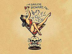 Canvas Sailor Jerry Aloha Pin Up Large Poster Art Print Black /& White Card
