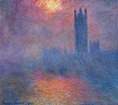 런던, 국회의사당, 안개를 뚫고 비치는 햇빛 클로드 모네 1904년 / 유화 / 캔버스에 유채 / 오르세 미술관 소장 / 안개로 인해 국회의사당은 그 윤곽만이 존재한다. 안개를 뚫고 비치는 햇빛은 신비롭고 오묘한 느낌이다. 템즈강을 붉게 물들이는 빛은 시시각각 달라진다.