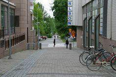 Ajurinkatu towards the Music Centre. Grid System, Pedestrian, Centre, Sidewalk, Street, City, Places, Music, Travel