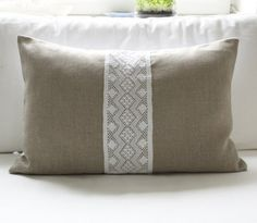 Linen and lace pillow cover For the hay bale seating. Hay Bale Seating, Hay Bales, Lace Pillows, Bed Pillows, Cushions, Baby Crib Bedding, Linens And Lace, Crochet Lace, Pillow Covers