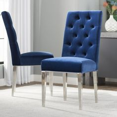 Everly Quinn Marshall Upholstered Dining Chair (Set of , Blue Velvet Dining Chairs, Upholstered Dining Chairs, Dining Chair Set, Chair Upholstery, Dining Tables, Dining Area, Kitchen Dining, Room Chairs, Side Chairs