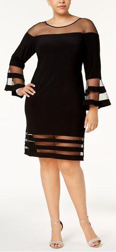 Plus Size Illusion-Stripe Bell-Sleeve Dress - Plus Size Cocktail Dress