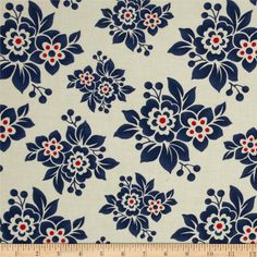 Moda Milk Cow Kitchen Feedsack Floral Navy from @fabricdotcom  Designed by Mary Jane for Moda, this cotton print fabric is perfect for quilting, apparel and home decor accents. Colors include cream, blue and red.