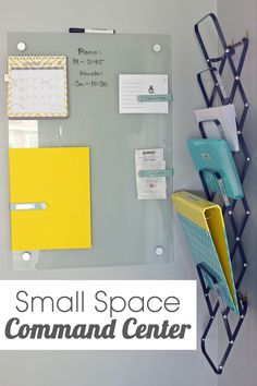 How to mount an accordion file holder on the wall for a small space command center.  #organization #smallspace