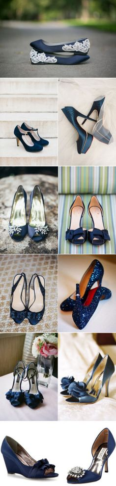 navy blue wedding ideas - navy blue wedding shoes