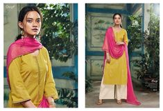 Yellow and Pink Combination Salwar Kameez Looks Awesome, Cotton  coil foil print with #Embroidery and #handwork,Bottom cotton foil #print material, Dupatta #Bemberg chiffon printed with #Zari lace border.#unstiched Indian #SalwarKameez #gowns(customize) #IndianKurtis #sarees(Customize) #SareeBlouse(Customize #LehengaCholi(Customize) #BridalWear(Customize) For Order Call or WhatsApp :- +91 93245 09951